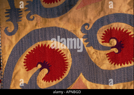 Finely woven and richly coloured Bedouin artefacts on display in the interior of the American Colony Hotel in Jerusalem - Stock Photo