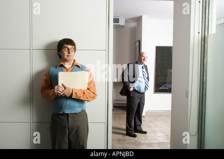 Scared Man Young Employee Hiding Under The Table Being