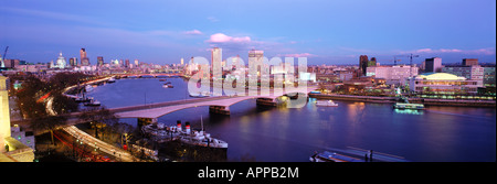 Panoramic view of St Pauls Cathedral at dusk - Stock Photo