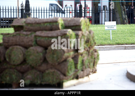 please keep off the grass sign on newly laid lawn with pallet of turf rolls in the foreground - Stock Photo