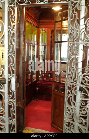 Antique lift in Pera Palas Hotel in Istanbul, Turkey - Stock Photo