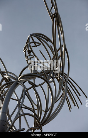 close up of the head of the thanksgiving beacon sculpture beacon of hope by artist Andy Scott in thanksgiving square - Stock Photo
