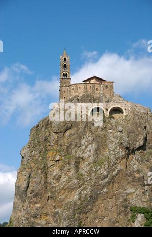 St Michel d'Aiguilhe church on the rock at Le Puy en Velay, Haute Loire, Central France - Stock Photo