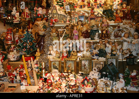 colourful decoration at Christmas Market stall Marienplatz Munich Muenchen Christkindlmarkt Bavaria Germany - Stock Photo