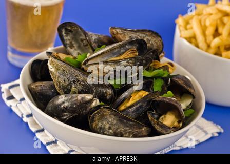 Moules Marinière Mussels France Belgium Food - Stock Photo