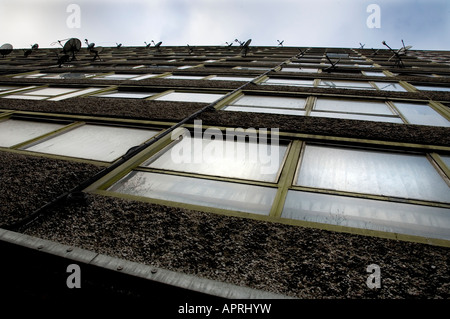 Dramatic view of a council estate tower block on the Heygate estate, Elephant and Castle, South East London - Stock Photo