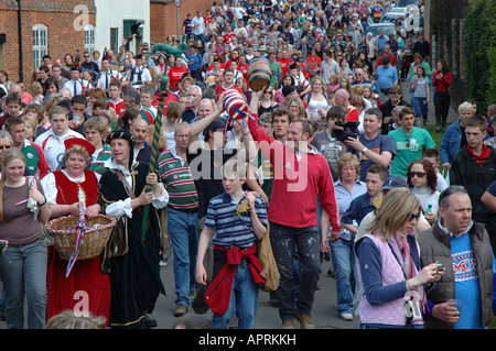 Hallaton bottle kicking procession on Easter Monday, Hallaton, Leicestershire, England, Uk - Stock Photo