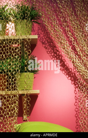 Pink wall and curtain - Stock Photo