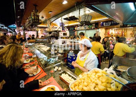 Food Stall in Mercat de Sant Josep - Stock Photo