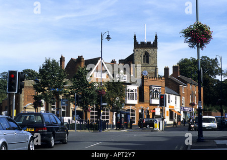 Moseley village centre and St. Mary`s Church, Birmingham, West Midlands, England, UK - Stock Photo