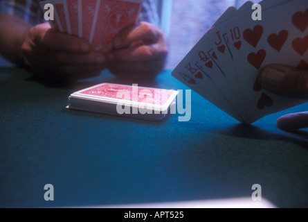 Royal Flush: 10, jack, queen, king, ace, of hearts - Stock Photo