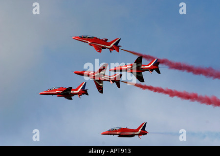 Red Arrows RAF aerobatic display team - Stock Photo
