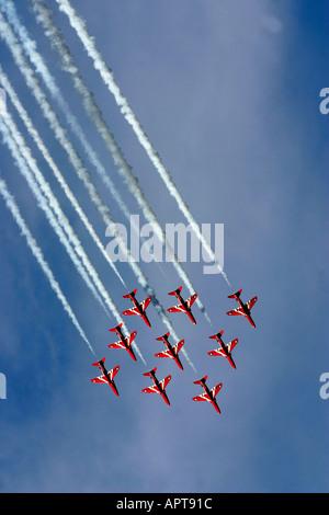 Isle of Wight Red Arrows RAF aerobatic display team - Stock Photo