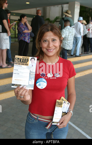 Miami Beach Florida 2004 early voting presidential election polling place line voters Hispanic - Stock Photo