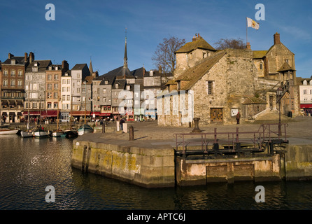 La Lieutenace and Quai St Catherine Honfleur Calvados Basse Normandy France - Stock Photo
