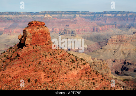 MULE TRAIN RIDING IN A DISTANCE ON THE SIDE OF THE MOUNTAIN ON SOUTH KAIBAB TRAIL IN GRAND CANYON NATIONAL PARK - Stock Photo