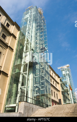 Glass facade of Reina Sofia Modern Art Museum, Madrid, Spain. Modern Stock Ph...