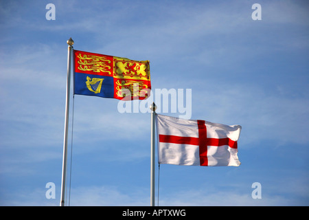 Royal Standard and St George Cross flags - Stock Photo