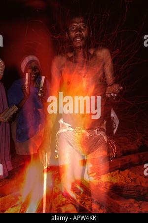 Bushman performing trance dances in Omatako village Namibia - Stock Photo