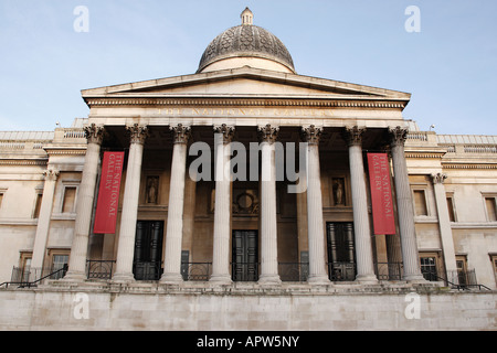 entrance to the national gallery in trafalgar square london england uk - Stock Photo