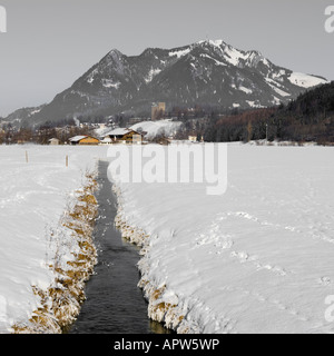 Gruenten Mountain peak in winter landscape, between Altstaedten and Fischen Oberallgaeu Bavaria Germany - Stock Photo