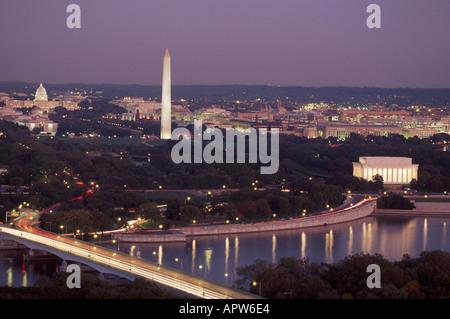 Washington D.C. Nation's Capital Mid Atlantic dusk Potomac River Lincoln Memorial Washington Monument US Capitol - Stock Photo