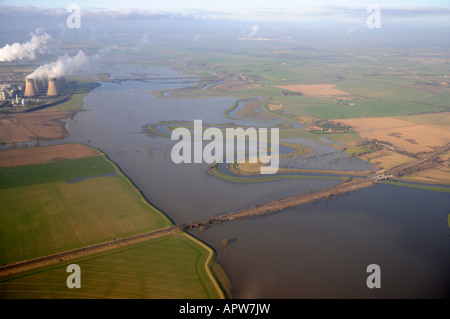 Flooding River Aire, south of Selby, North Yorkshire, England - Stock Photo