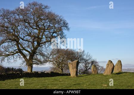 Nine Stones Close stone circle, Harthill Moor, Peak District National Park, Derbyshire, England, UK - Stock Photo