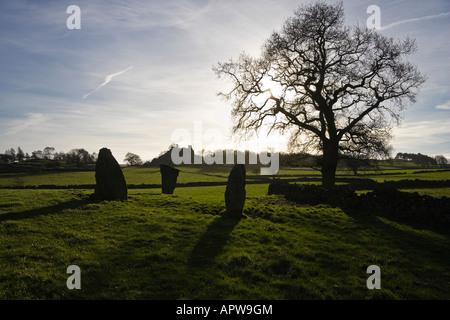 Nine Stones Close stone circle and Robin Hood's Stride, Harthill Moor, Peak District, Derbyshire - Stock Photo
