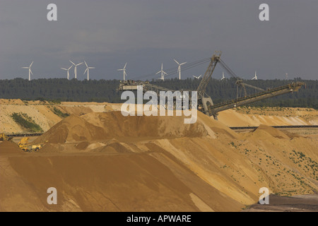 brown coal surface mining, Germany, North Rhine-Westphalia, Juechen - Stock Photo