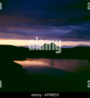 Suilven at sunset seen from Elphin, Sutherland, Highland Region, Scotland, UK. - Stock Photo