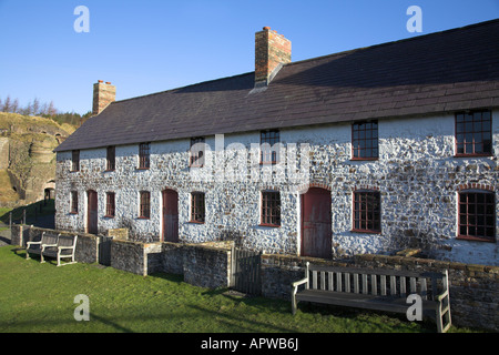 Abandoned cottages used by the iron workers at the Blaenavon Iron Works in Wales. - Stock Photo