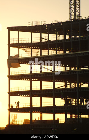 London steel framed building under construction against late afternoon winter sky - Stock Photo