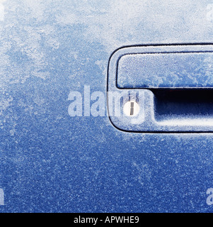 Frost on a car door - Stock Photo