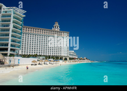 Sandy beach in Cancun hotel and resort area, Quintana Roo State, Mexico, North America - Stock Photo