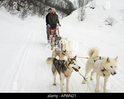 Family on a dog sled - Stock Photo