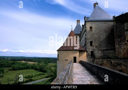 Dordogne, France. Chateau de Biron near Monpazier - Stock Photo