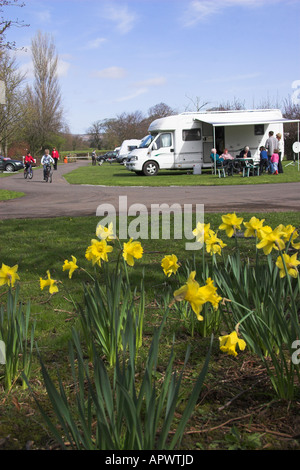 Campsite (Camping and Caravanning Club site), Clitheroe, Ribble Valley, Lancashire, England - Stock Photo