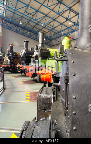 Steam locomotives at the National Railway Museum in York, England, UK - Stock Photo