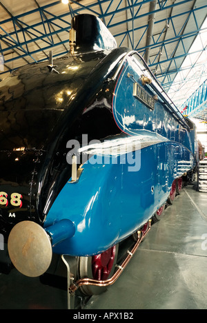 The Mallard steam engine on display at the National Railway Museum York UK - Stock Photo