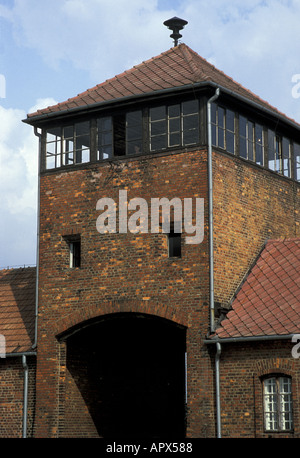 Hell's Gate name given to the entrance to the notorious Auschwitz Birkenau concentration camp now a state museum - Stock Photo