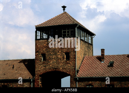 Hell s Gate name given to the entrance to Auschwitz Birkenau concentration camp now a state museum Oswiecim Poland - Stock Photo