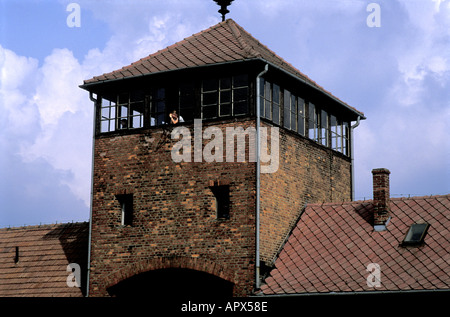 Hells Gate name given to the notorious concentration camp Auschwitz Birkenau now a state museum Oswiecim Poland - Stock Photo