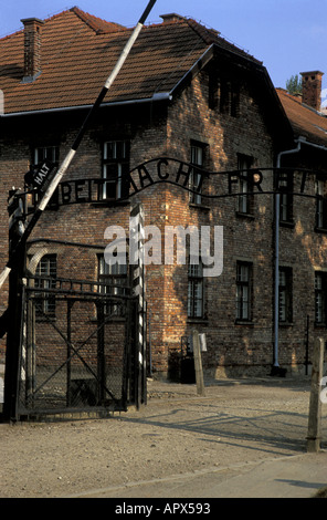 Entrance to Auschwitz 1 concentration camp now the State Museum Work sets you free inscription on the gate Oswiecim - Stock Photo