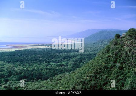View over Lake Manyara, National Park, Tanzania, East Africa - Stock Photo