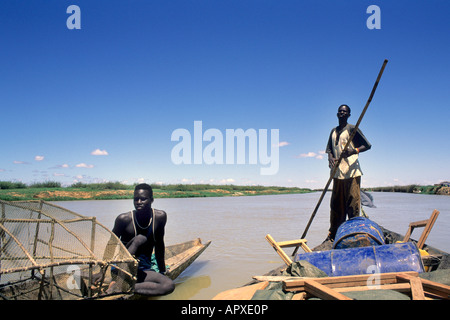 Bozo fishermen at the riverbank on the Niger River - Stock Photo