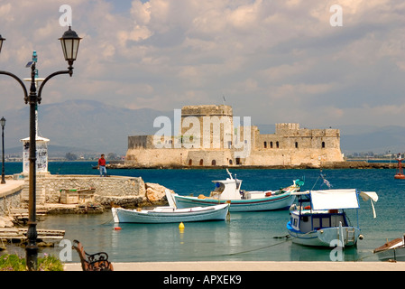Bourtzi castle in the middle of the harbour of Nafplio, venetian castle, Nafplio, Peloponnese, Greece - Stock Photo