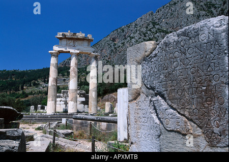 Tholos temple at the sanctuary of Athena Pronaia, was a circular building, Delphi, Greece - Stock Photo