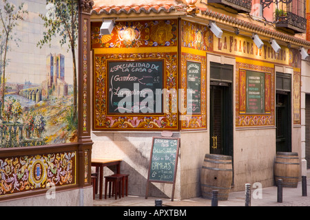 Madrid, Spain. Traditional tavern in the Huertas district. - Stock Photo