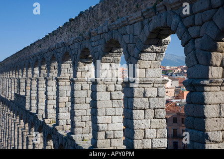 Segovia, Castile and León, Spain. The Roman aqueduct. - Stock Photo